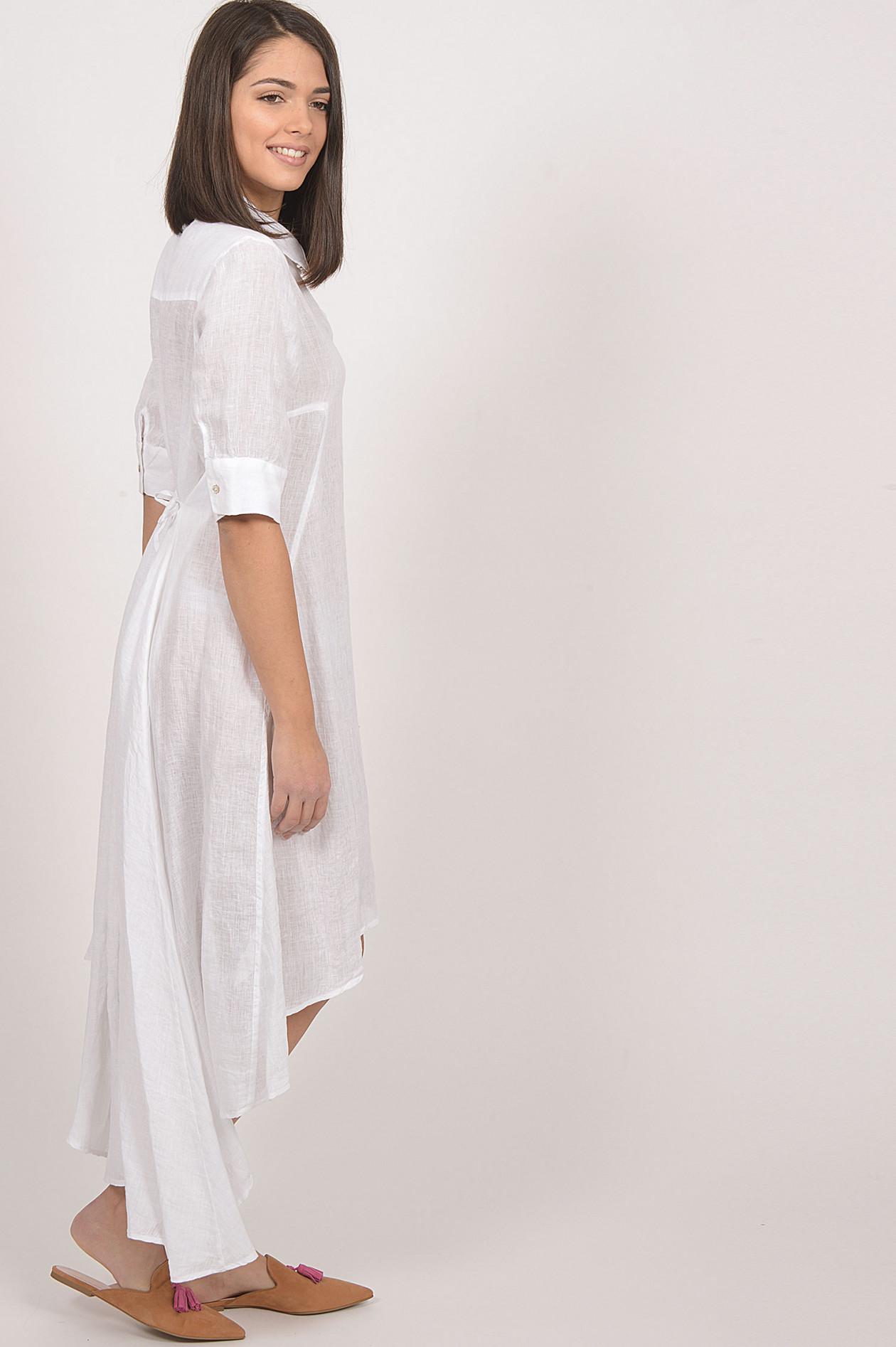 vokuhila - kleid aus leinen in weiß