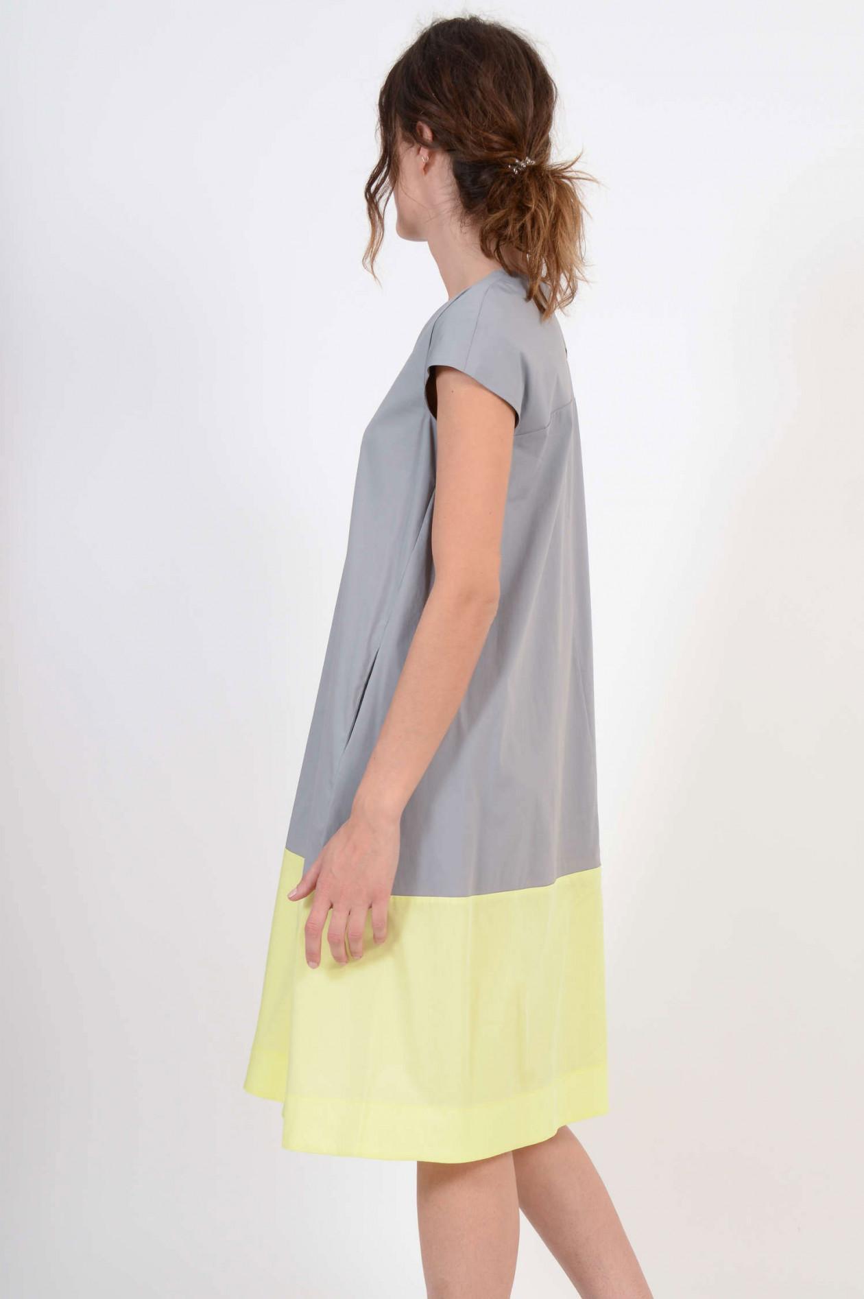 kleid mit seitentaschen in stein/gelb