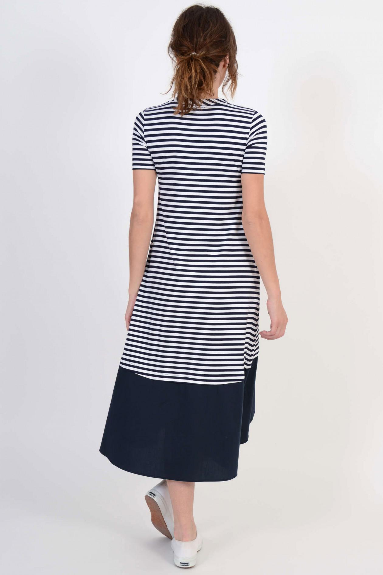 vokuhila - kleid mit streifen in navy/weiß