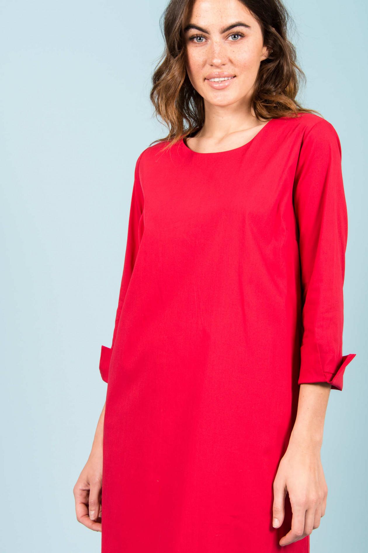 baumwoll-kleid in rot