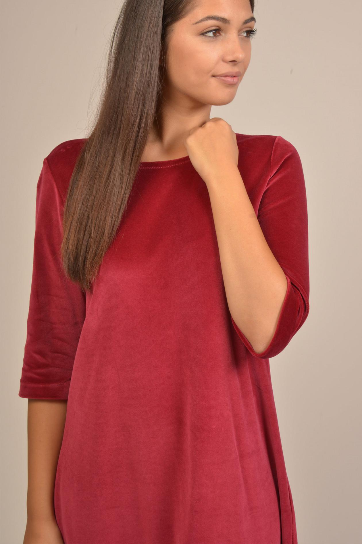 günstig moderner Stil wie man kauft Samtkleid in Rot