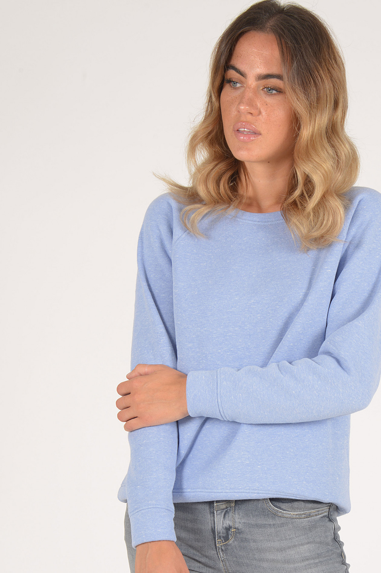 Closed Sweater in Blau meliert | GRUENER.AT