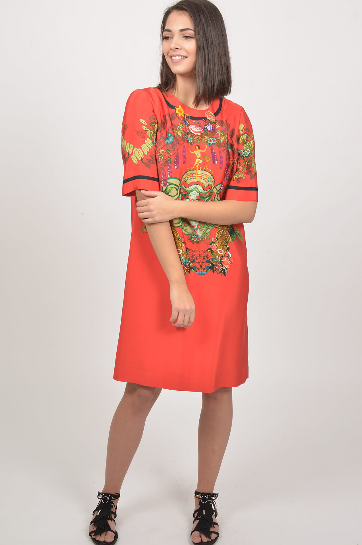Etro Kleid In Rot Grun Gemustert Gruener At