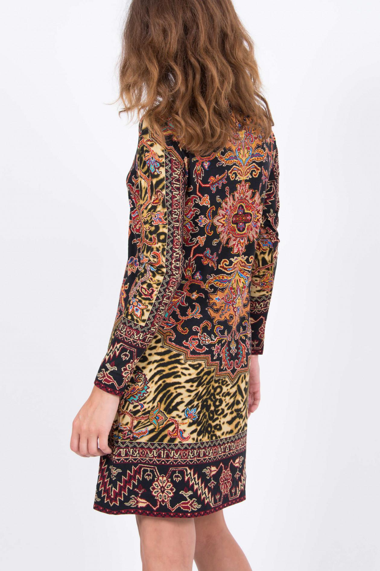 erstklassige Qualität gutes Angebot Spitzenstil Rollkragen-Kleid in Schwarz gemustert
