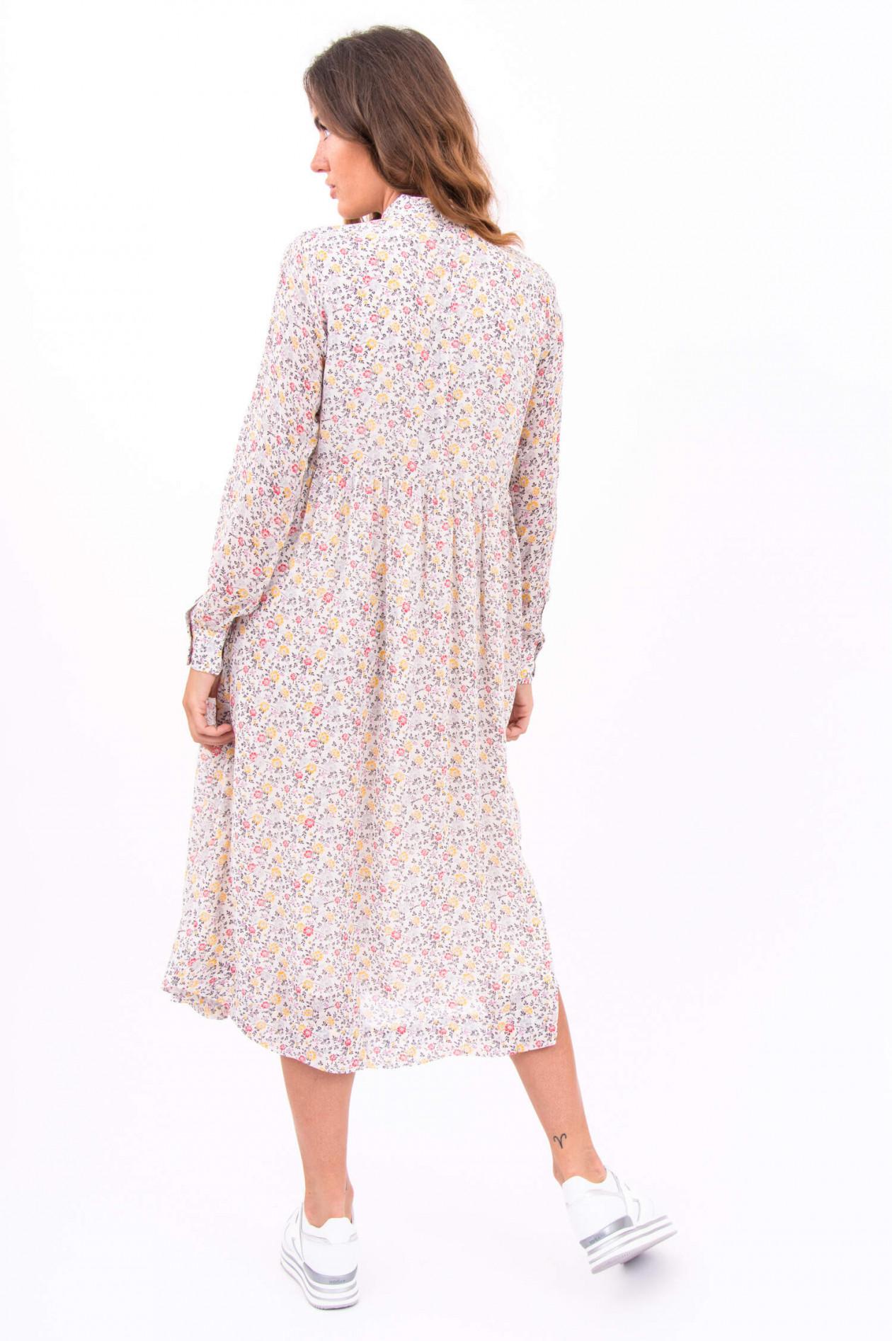 kleid mit floralem muster in weiß/gelb/pink