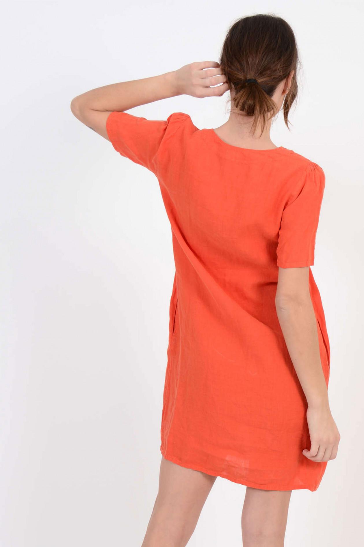 Hartford Leinenkleid In Rot Orange Gruener At