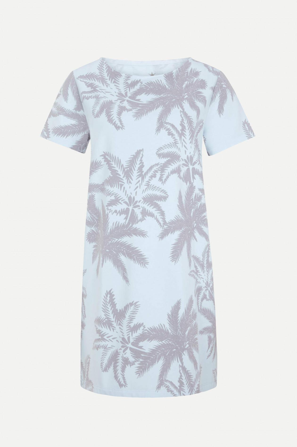 Jerseykleid mit Palmen Print in Hellblau