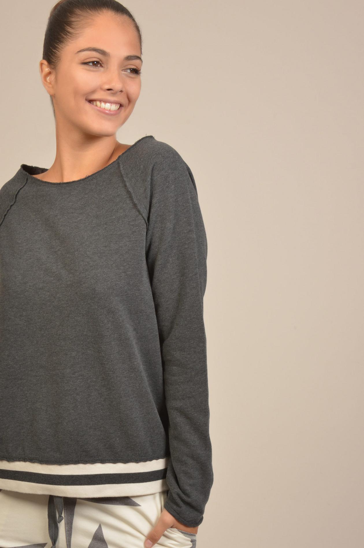 Juvia Sweater mit Streifenbund in WeißRosa | GRUENER.AT