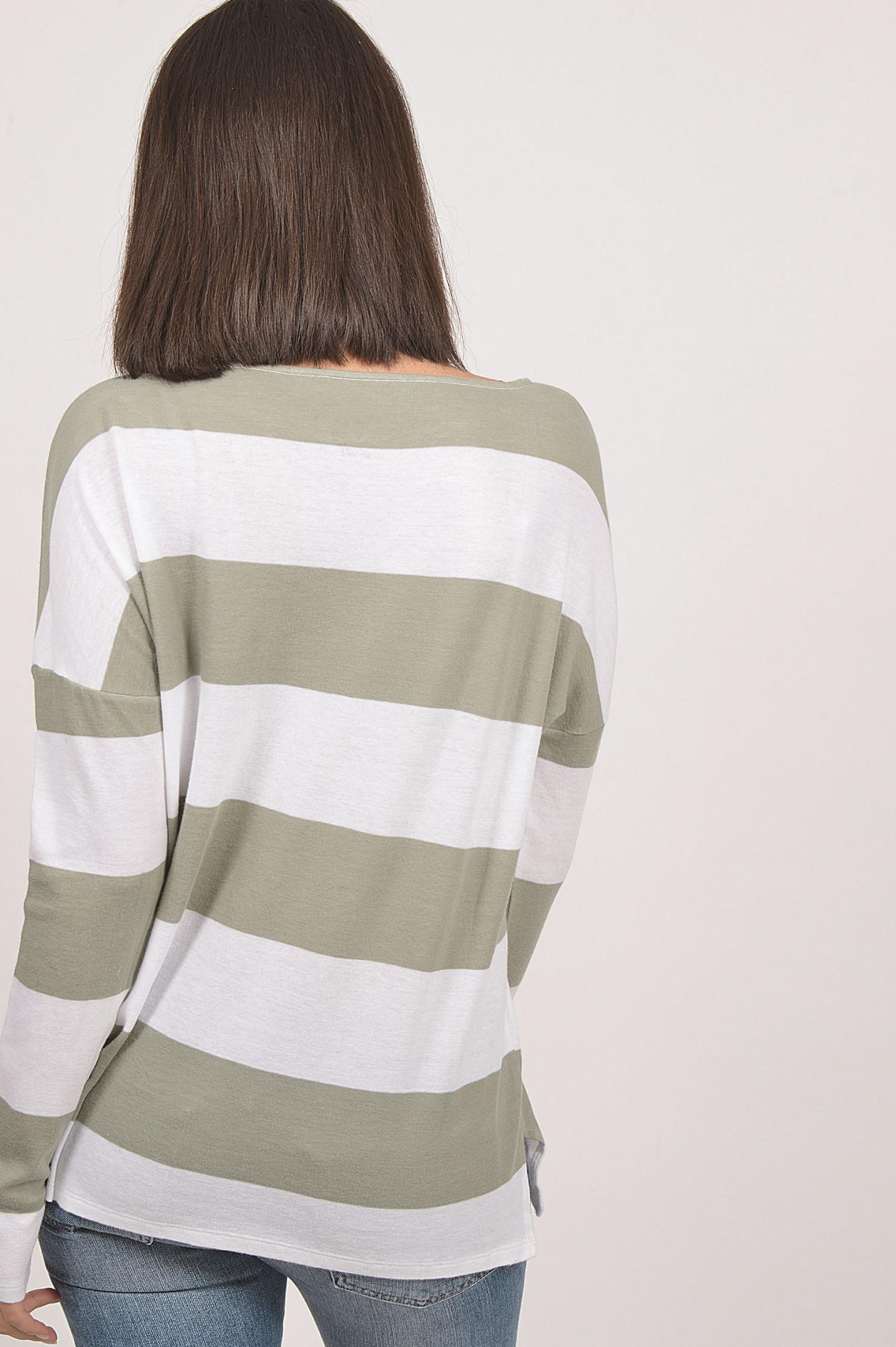 Juvia Sweatshirt mit Blockstreifen in GrauWeiß | GRUENER.AT