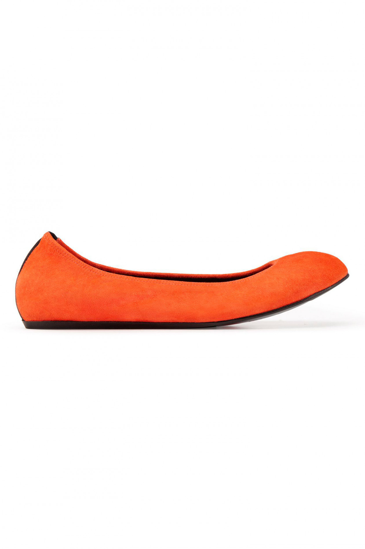 Ballerinas aus Veloursleder in Orange