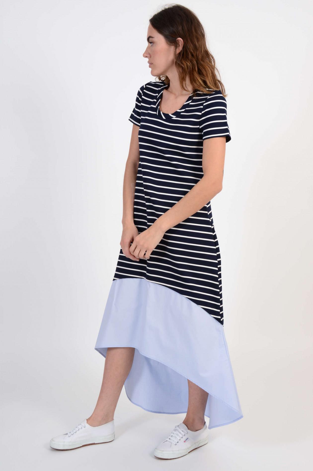 vokuhila kleid in blau/weiß gestreift
