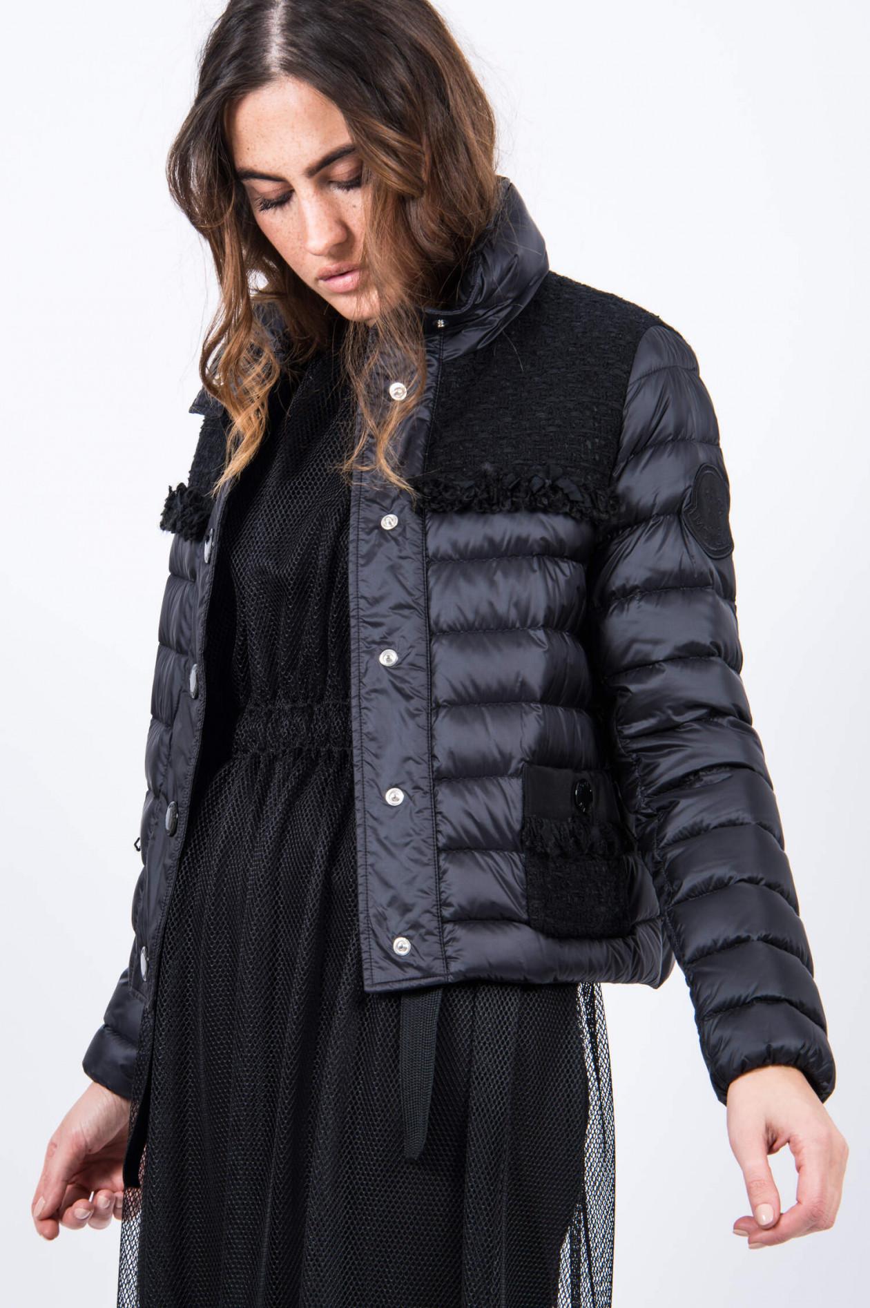 Daunenjacke LUNAIRE mit Tweed Details in Schwarz