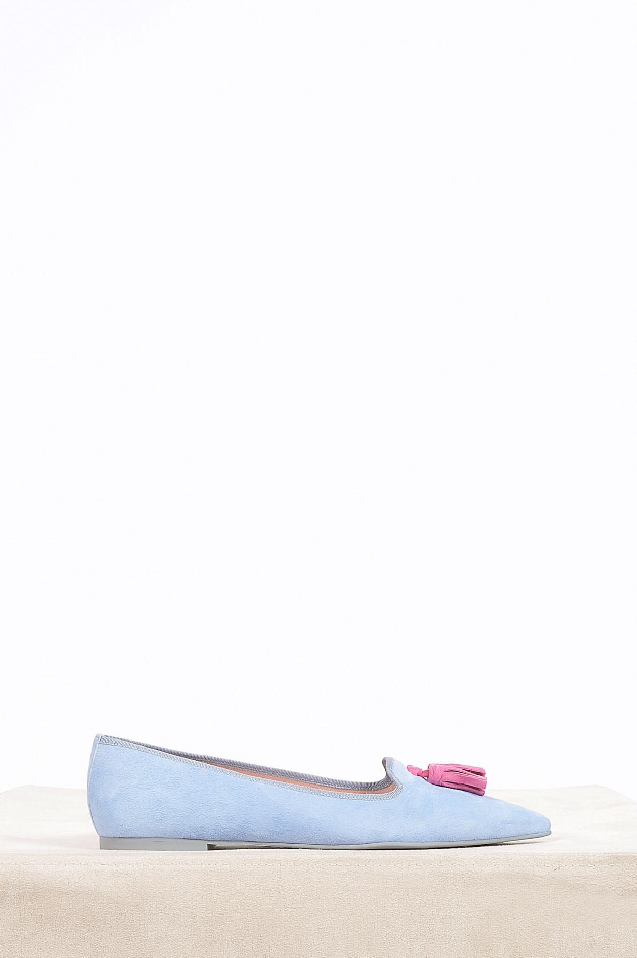super popular 11e23 4cf07 Loafers mit Tassel in Hellblau/Pink