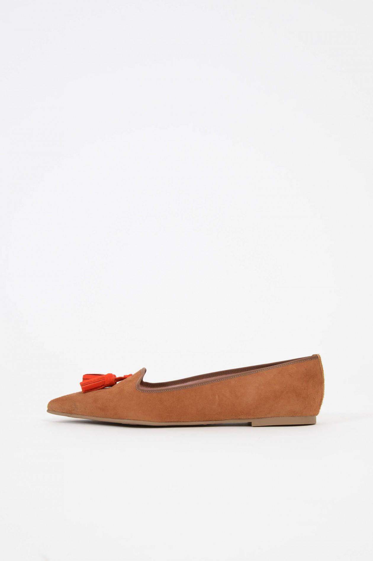 Loafers aus Veloursleder in CamelOrange