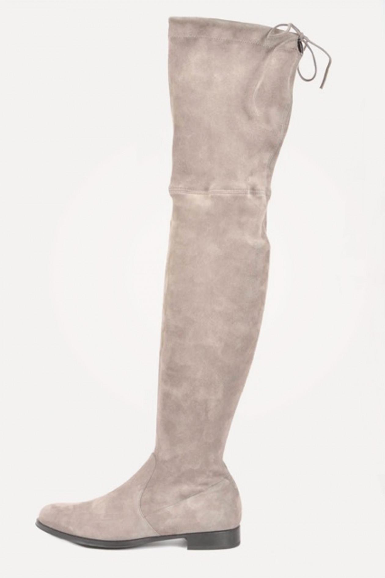 premium selection 072a9 203a8 Overknee - Stiefel aus Veloursleder in Grau