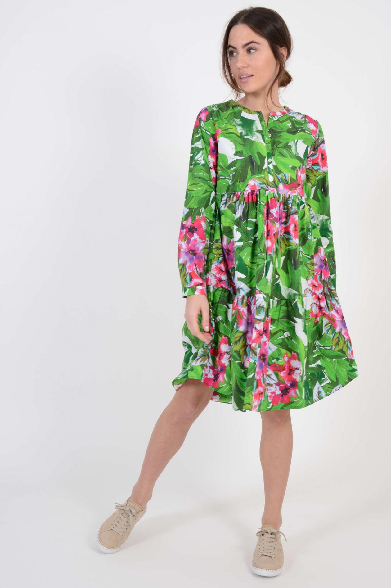 Kleid in A-Form mit Tropendruck in Grün