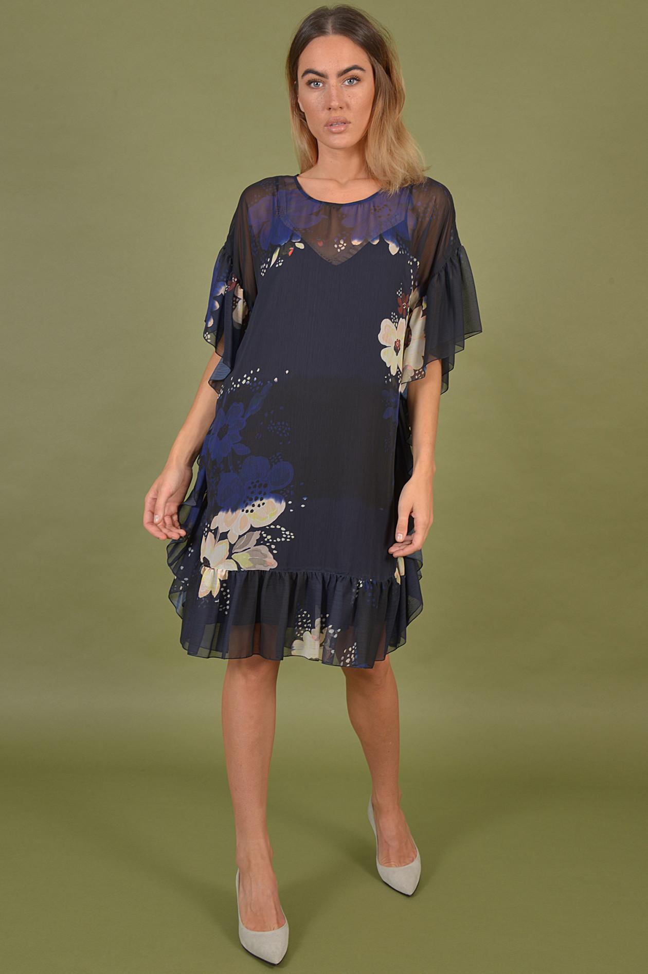 kaftan - kleid floral gemustert in blau