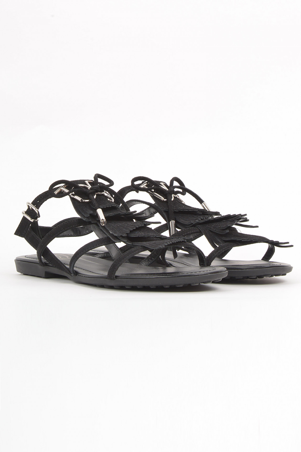 Sandale mit Fransen in Schwarz
