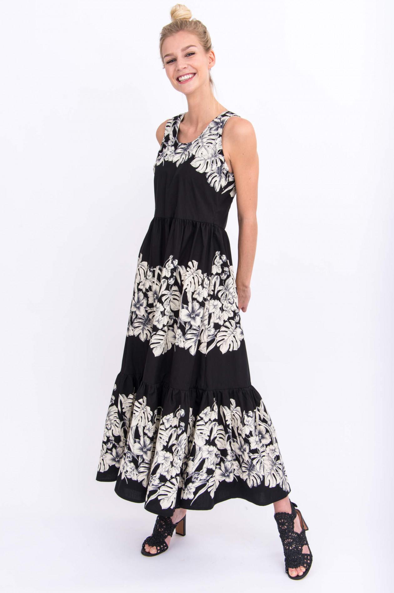 Maxi Kleid im floralen Design in Schwarz/Weiß