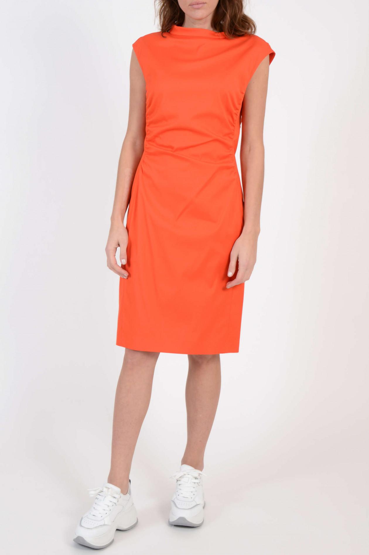 Kleid mitr Raffung in Orange