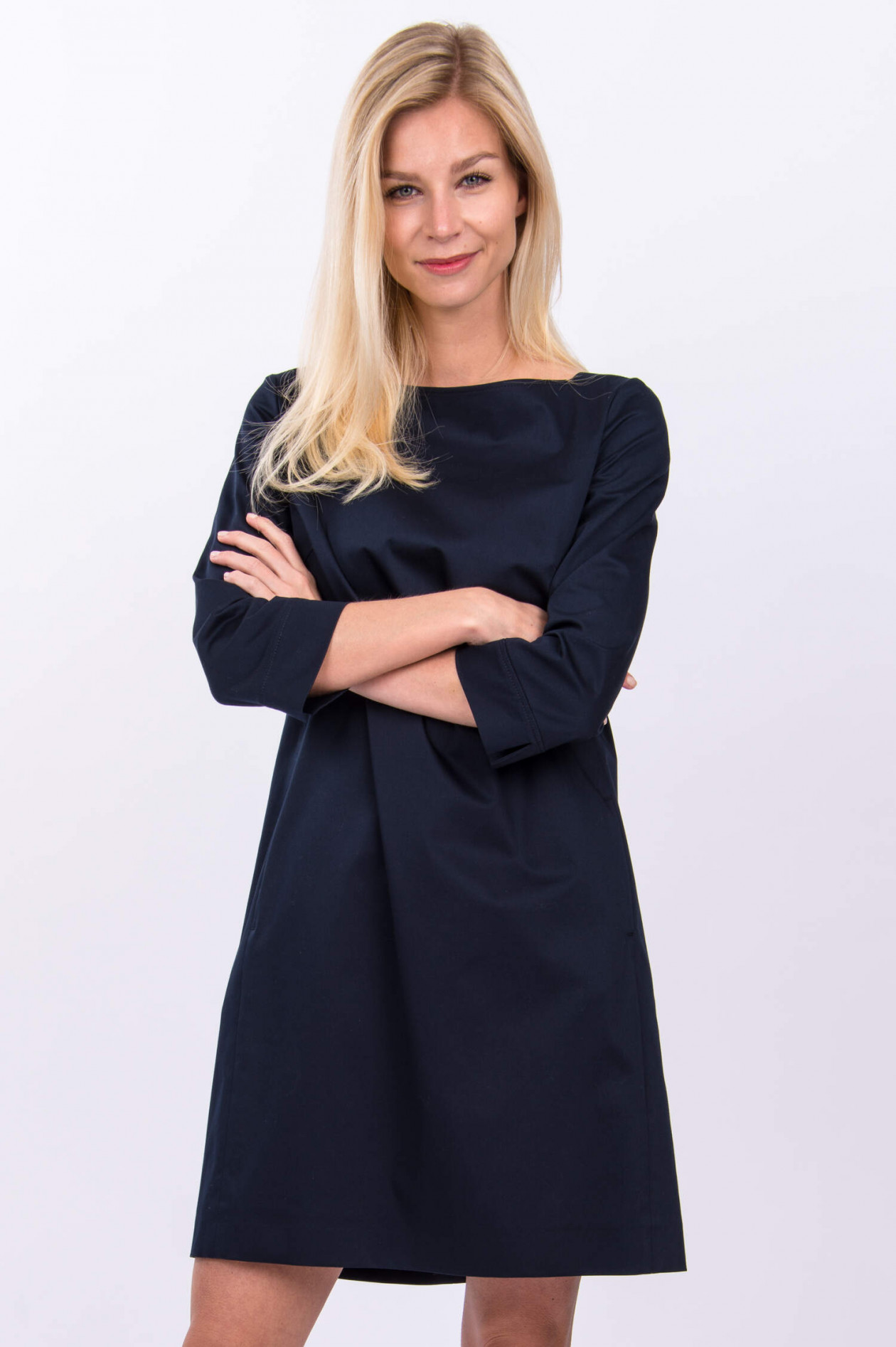 Windsor Baumwoll Satin Kleid In Midnight Gruener At