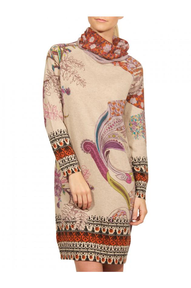 Etro - Rollkragen-Kleid Beige gemustert