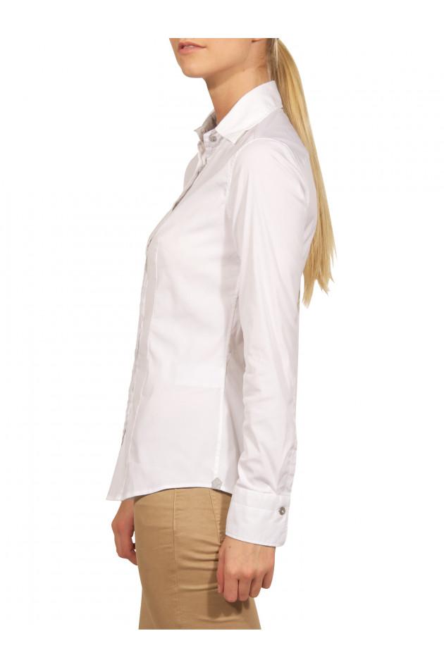 Caliban - Bluse Weiß mit grauen Details