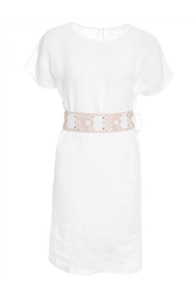 neues Konzept 747fd 98073 Leinenkleid Weiß Mit Leinenkleid Weiß Taillenband ...