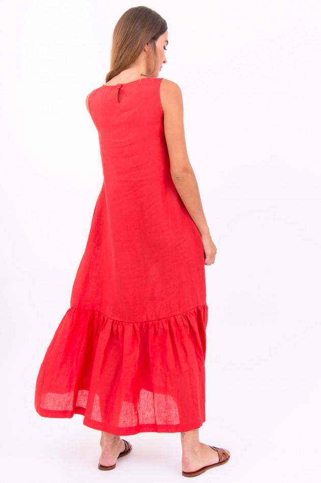 1868 Langes Leinen-Kleid in Rot