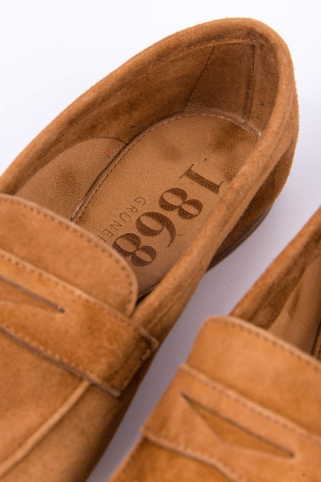 1868 Loafer aus Veloursleder in Cognac
