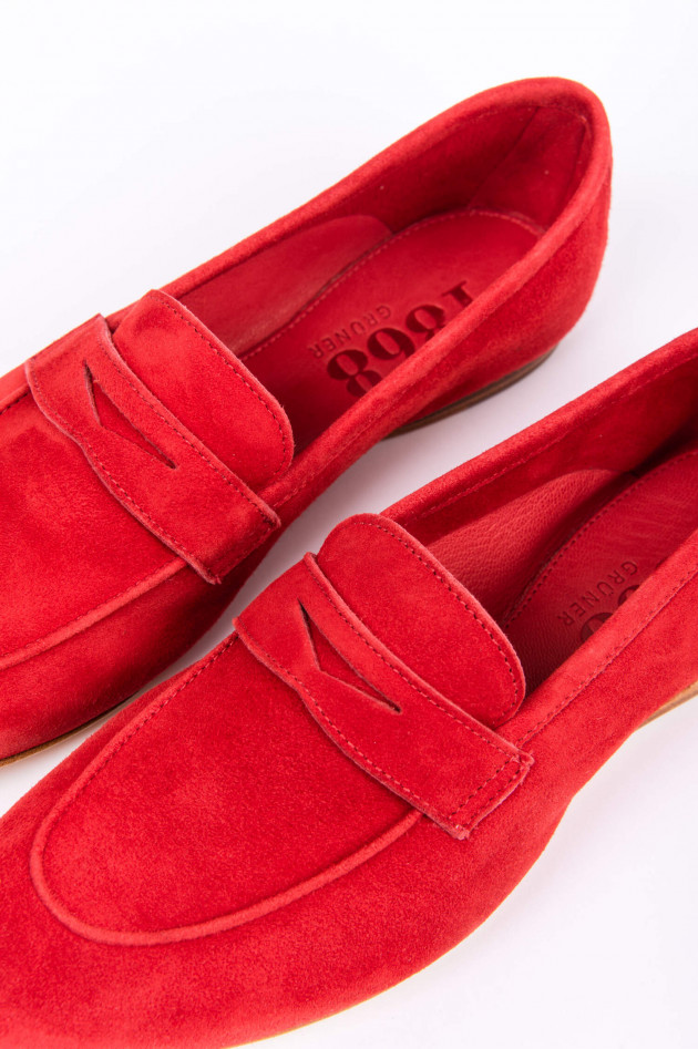 1868 Loafer aus Veloursleder in Rot
