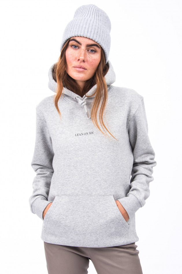 1868 Hoodie LEAN ON ME in Hellgrau meliert