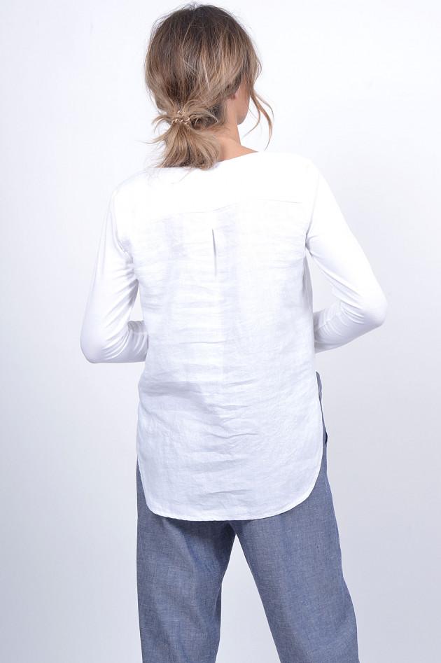 1868 Leinenshirt mit Jerseyärmel in Weiß