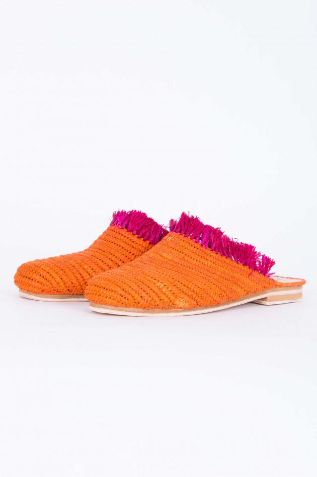 Abury Raffia Slipper in Orange/Pink