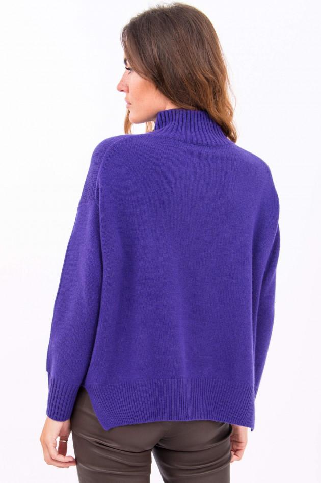 Allude Pullover mit Stehkragen in Pflaume