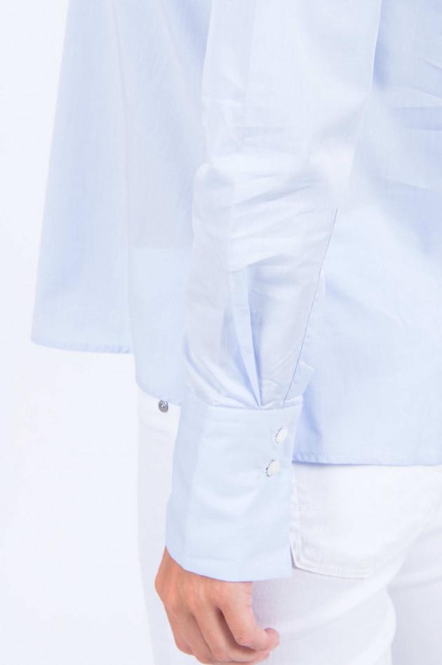 Artigiano Bluse mit Stehkragen in Hellblau