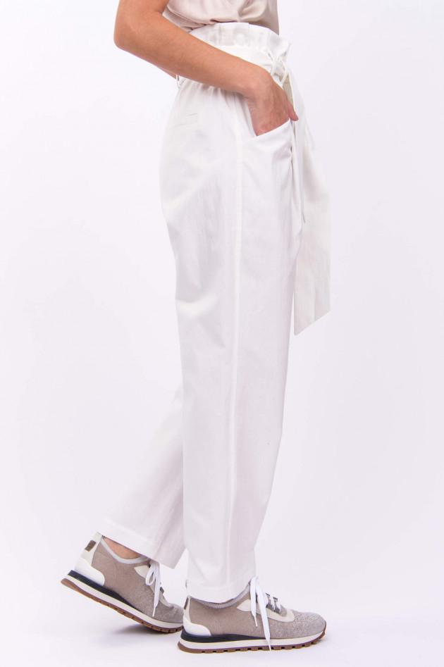 Brunello Cucinelli Hose CANVAS inklusive Gürtel in Weiß