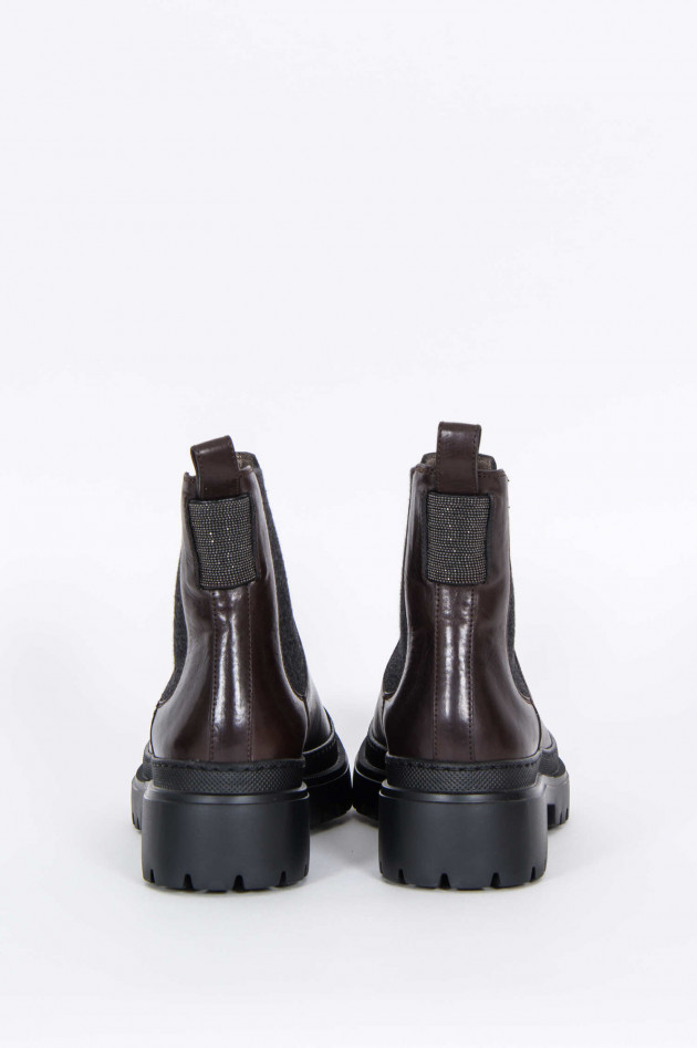 Brunello Cucinelli Leder-Boots in Dunkelbraun