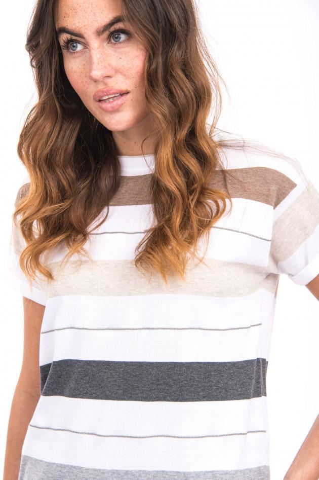 Brunello Cucinelli Strickshirt mit Streifen-Design in Weiß