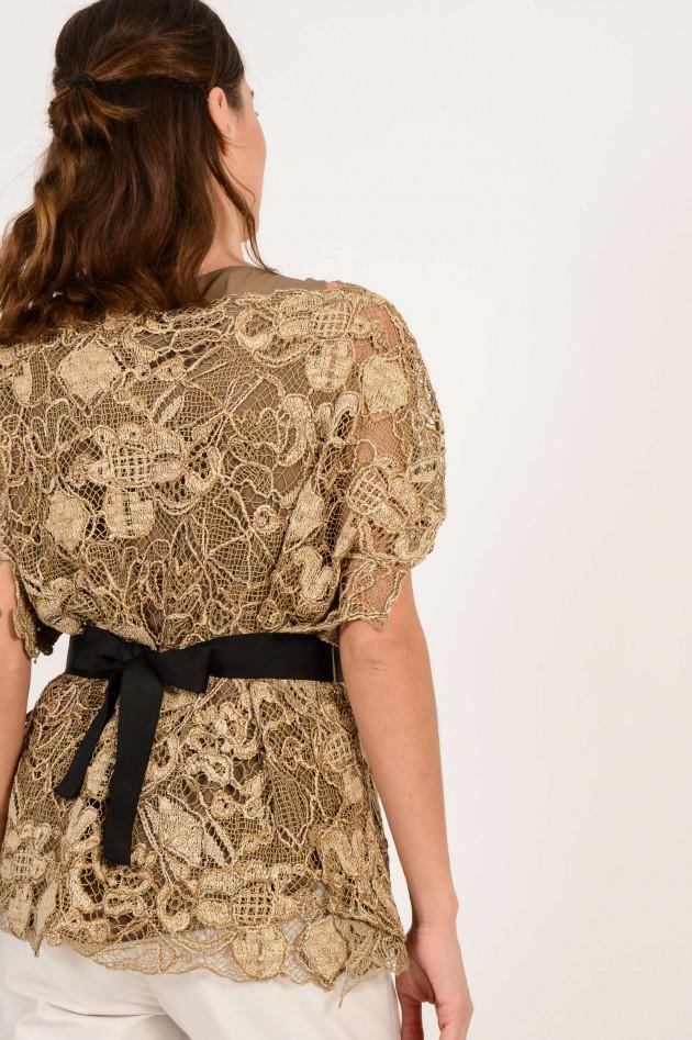 Brunello Cucinelli Shirt aus Spitze in Beige/Gold