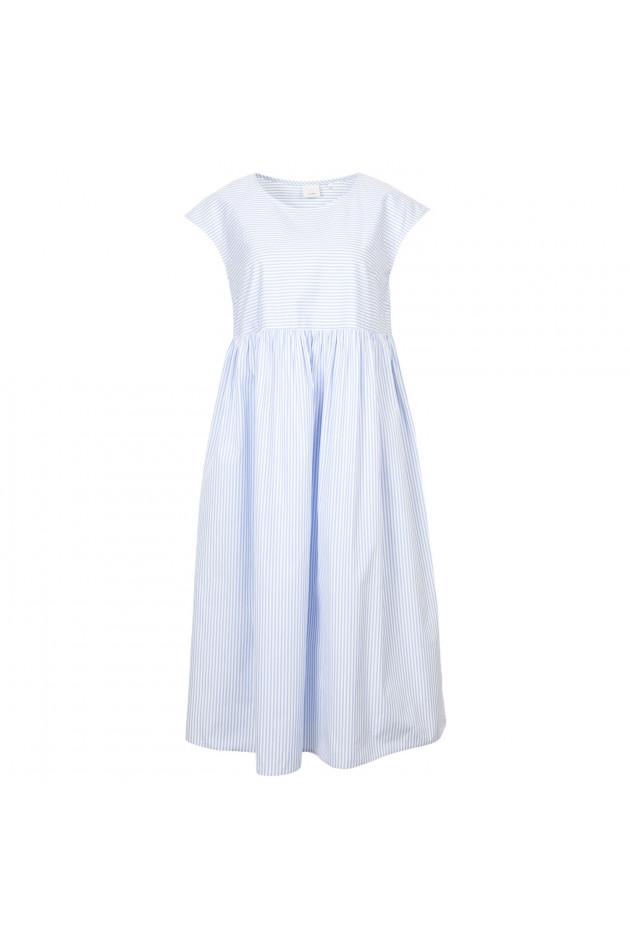 Grüner Online Shop: Caliban 820 Kleid in Blau/Weiß gestreift