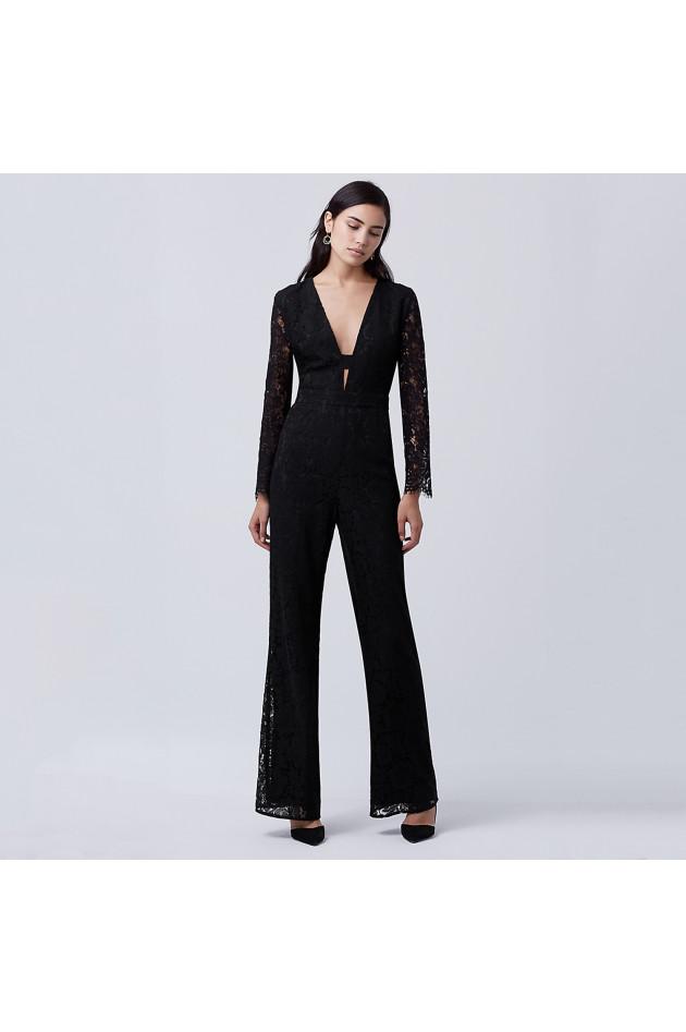 diane von f rstenberg jumpsuit in schwarz gruener at. Black Bedroom Furniture Sets. Home Design Ideas
