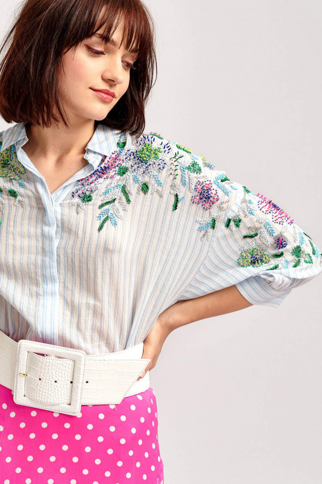 Essentiel Bluse mit Pailletten-Details in Himmelblau
