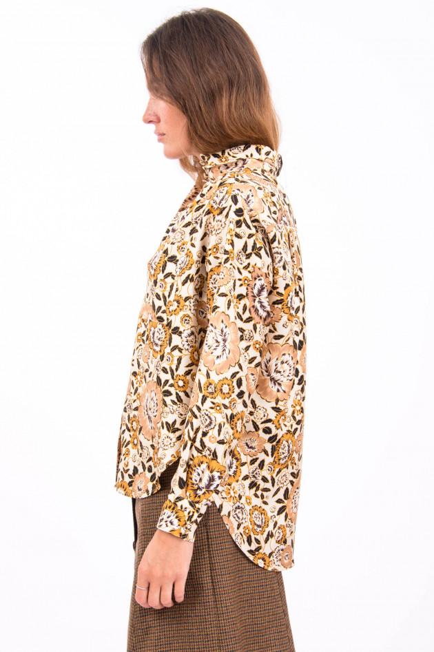 Etro Seidenhemd in Beige/Floralem-Print