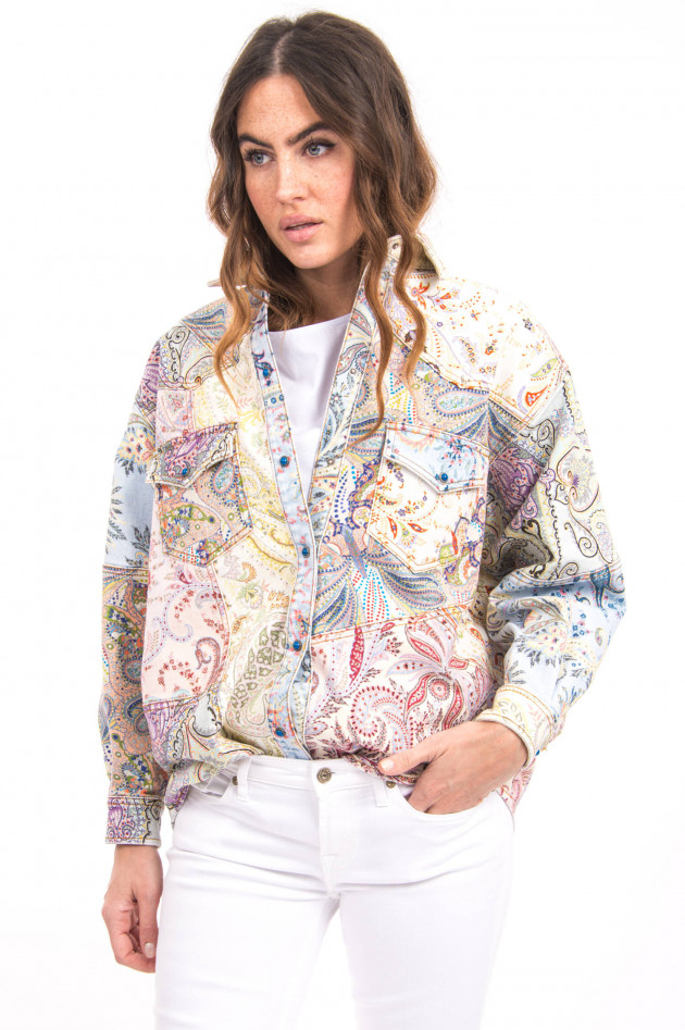 Etro Jeanshemd mit Paisley-Print in Multicolor