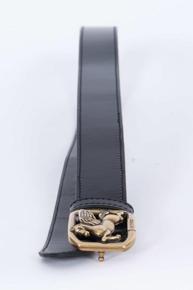Etro Ledergürtel in Schwarz/Gold