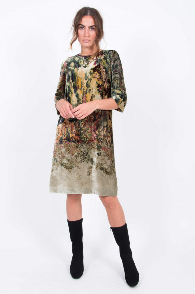 Etro Samtkleid in Beige/Grün gemustert