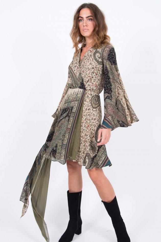 Etro Wickelkleid aus Seide in Natur/Oliv gemustert