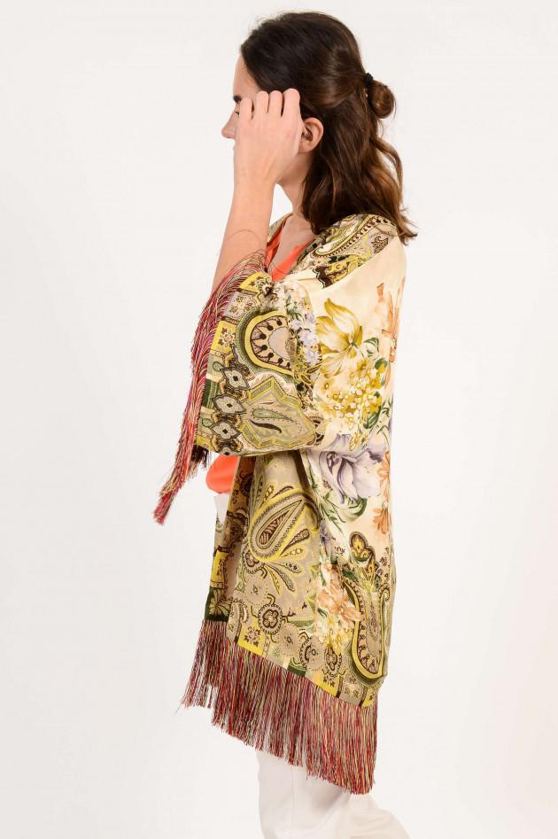 Etro Kimono mit Fransen in Beige/Bordeaux