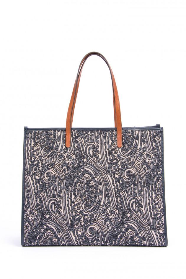 Etro Shopper im floralem Design in Marine